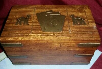 Antique Wooden playing card box with inlaid brass elephants and designs