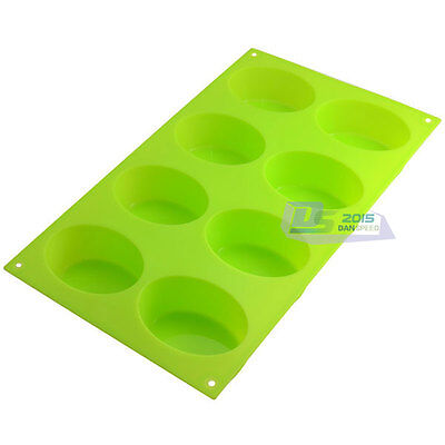 Oval Cake Chocolate Jelly Muffin Bakeware Soap Mold Silicone 8-Cavity Homemade