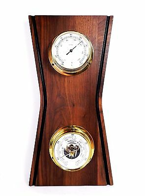 Vintage Modernist Era Huger German Walnut Weather Guide Barometer Thermometer