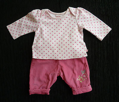 Baby clothes GIRL newborn 0-1m TU pink cord cotton trousers/long sleeve spot top