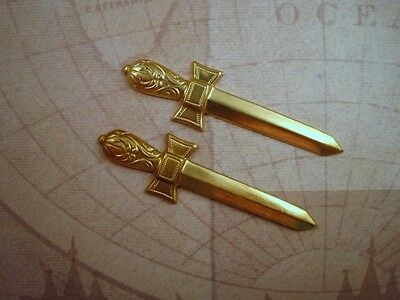 Large Raw Brass Sword Stampings (2) - RAT3008 Jewelry Finding