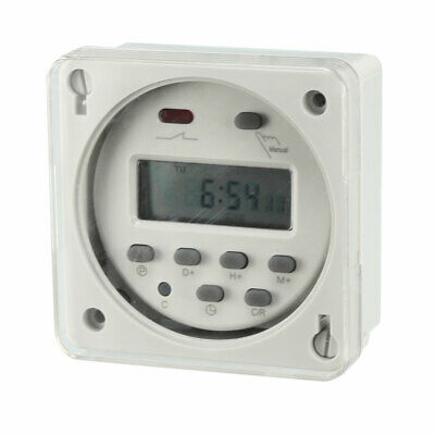 AC/DC 24V Digital Electronic LCD Time Relay Switch Programmable Timer Gray