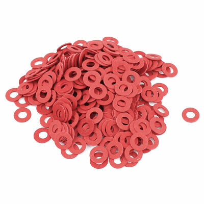 Fiber Flat Insulating Washer Ring 4mmx8mmx0.5mm 500Pcs Red for Screws