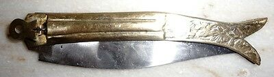 Rare and Vintage Thumb Impress folding Pocket Knife with Brass Handle Collectibl