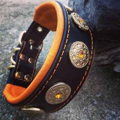 Bestia genuine leather dog collar. S - XL size, French bulldog design. hand made