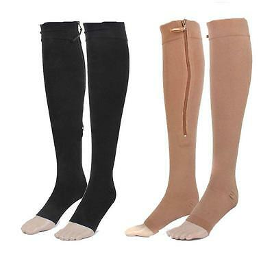 23-32 mmHg Medical Compression Socks, Open Toe ,Zippered Knee-High Stockings