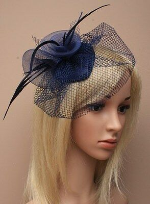 Navy Blue Feather Net Hair Fascinator Beak Clip Hair Clip Hat Races Wedding 20