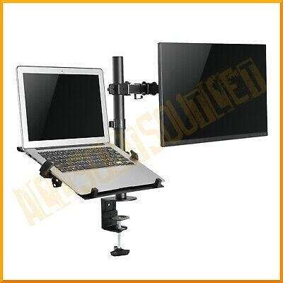 Single Laptop Notebook Desk Arm Mount Clamp Stand Extension Fully Adjustable New