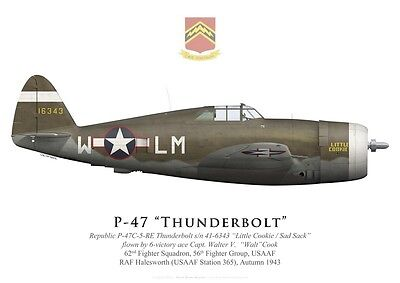 Print P-47C Thunderbolt, Capt. W. Cook, 62nd FS, 56th FG, 1943 (by G. Marie)