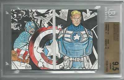 BGS 9.5 2014 Marvel Premier SKETCHES BOOKLET 1/1 Captain America Manny Mederos