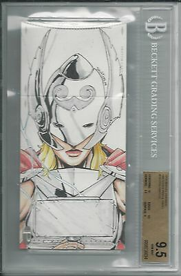 BGS 9.5 2014 Marvel Premier TRIPLE PANEL SKETCH 1/1 Thor/Falcon by Chris Santos