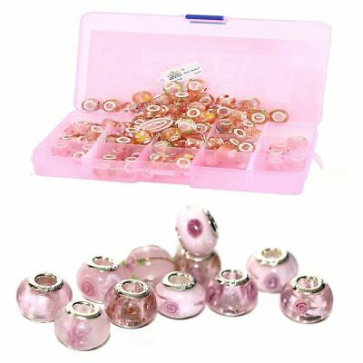 5-100pc PINK+PURPLE WHOLESALE CHARMs SILVER BEADS BRACELET Murano Lampwork GLASS