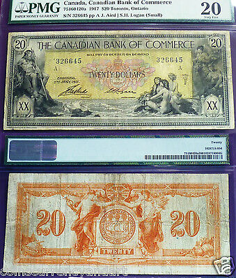 1917 Canadian Bank of Commerce $20 ,Certified  PMG 20 very fine
