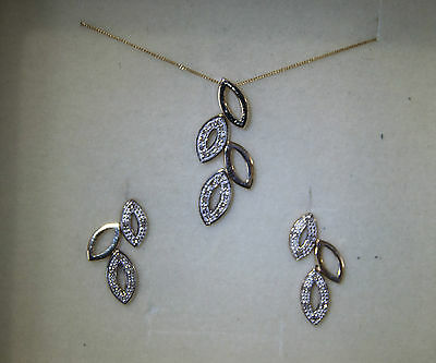 9 carat Gold Diamond Leaf Earrings and Necklace Set 20pt of Sparkling Diamonds