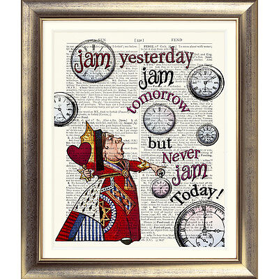 DICTIONARY ART PRINT ON ANTIQUE BOOK PAGE Alice in Wonderland QUEEN OF HEARTS