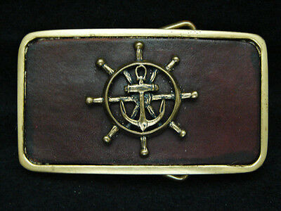 OE19132 *NOS* VINTAGE 1970s **SHIPS ANCHOR & HELM** SOLID BRASS & LEATHER BUCKLE