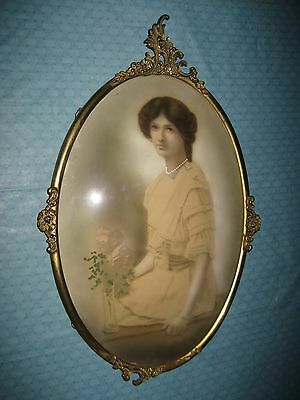 """ANTIQUE HAND COLORED PICTURE GIRL IN BRASS CONVEX GLASS FRAME 15 1/2"""" X 24"""""""