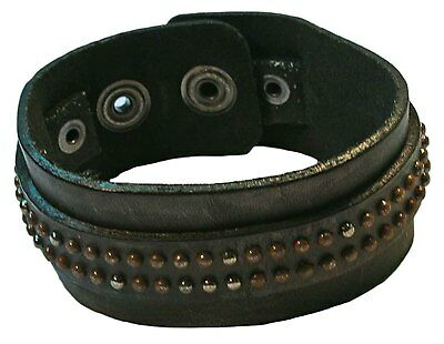 Bulk lot x 12 - BROWN LEATHER CUFF BRACELET WITH LITTLE SILVER STUDS