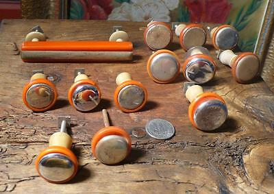 13 assorted art deco TESTED bakelite metal Pull handles knobs 300 grams (s12218)