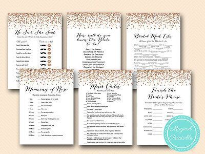 Print Yourself Rose Gold Bridal Shower Games BS155