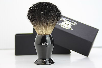 Men's 100% Black Badger Hair Shaving Brush in Ebony Handle Made in England