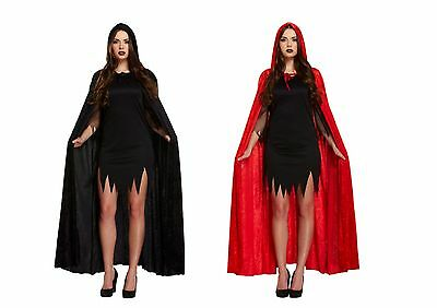 Deluxe Red Black Velvet Hooded Cloak Cape Long Vampire Halloween Fancy Dress