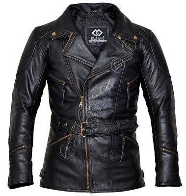 Eddie Black 3/4 Mens Motorcycle Biker Long Leather Jacket