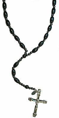 Bulk lot x 12 - CROSS WITH BLACK BEADS NECKLACE