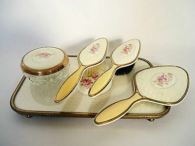 "Vintage 1930's ""Lissco"" Five Piece Dressing Table Set, With Removable Brushes"