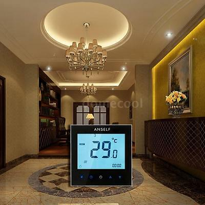LCD Touch Screen Room Electric Temp Controller 110-230V 16A Weekly Programmable