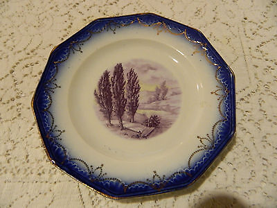 """Flow Blue Limoges China 7"""" Plate River with Dock Scene"""
