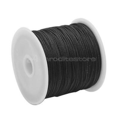 1 Roll Black Beading Thread Cord Rope 0.6mm for Bracelet Necklace Making DIY