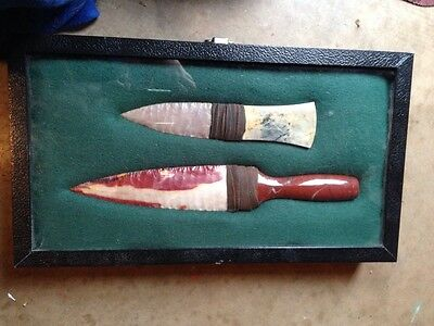 Picasso Marble/moss Creek Flint & Red Marble/mookite Jasper Blade Stone Knives