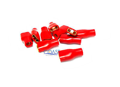 10 pcs Gold Plated Spade Terminal 4 Gauge w// Red Sleeve BS4R