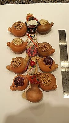 COLOMBIAN Craft Pottery Wall Decor Decoration Ornament Coffee Beans Rice Corn