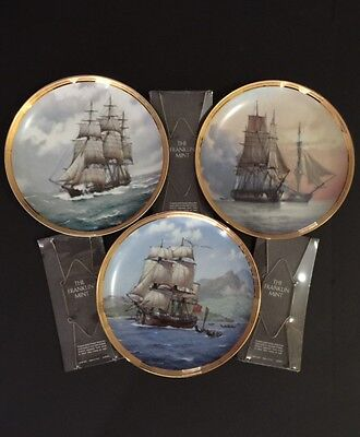 Amazing Franklin Mint Lot of 3 Fine Porcelain Collectors Plates - Sailing Ships