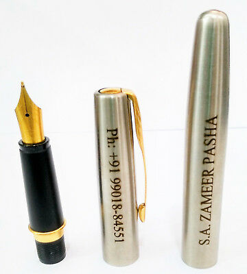 Personalised Engraved Parker Frontier Vector Steel GT Gold Trim Fountain Ink Pen