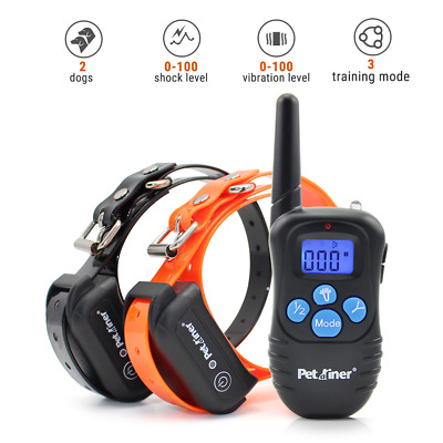 Petrainer Dog Training Collar with Remote Rechargeable Shock Vibrate 2 Collars