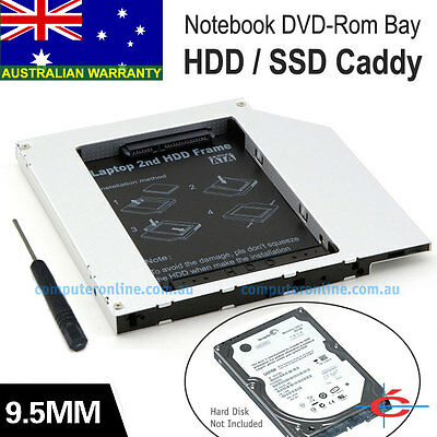 Notebook 9.5mm SATA CD ROM Optical Drive Bay for 2nd HDD Hard Drive Caddy Tray