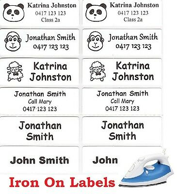 16 White Iron On Personalised Name Clothing Labels - Large (47*15mm)