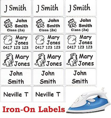 24 White Iron On Personalised Name Clothing Labels - Medium (30*15mm)