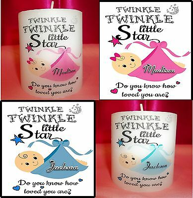 Personalized Baby Boy or Girl Mini Pillar Candle Shower Gift Decoration Keepsake
