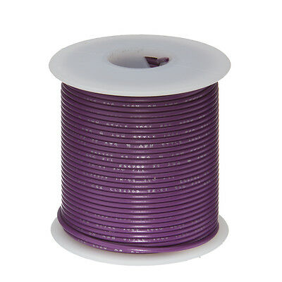 "24 AWG Gauge Stranded Hook Up Wire Violet 100 ft 0.0201"" UL1007 300 Volts"