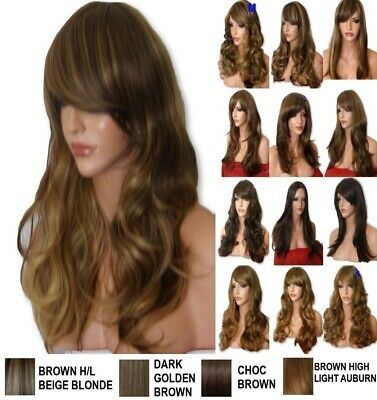 BROWN Mix Wig Natural Long Curly Straight Wavy Women Ladies Wig Fashion Party