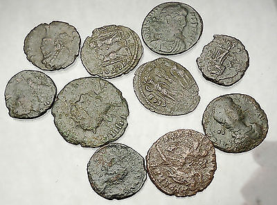 250-450AD Group Lot of 10 Authentic Ancient ROMAN Coins Collection KIT i51260