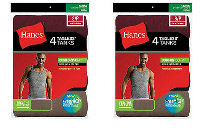 8 Hanes Mens Assorted Colors A-Shirt Tank Top Ribbed Undershirt  Size S - 2XL