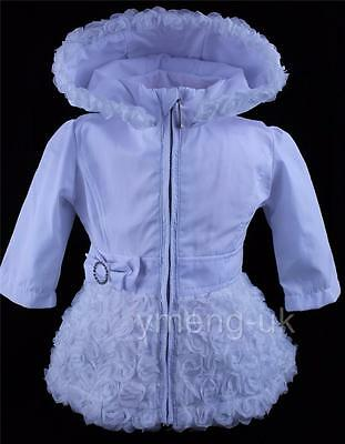 Beautiful Baby Girl's White Hooded Jacket with Rose Trim and Diamante Buckle