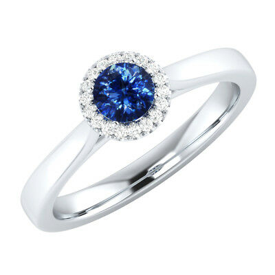 0.50 ct Certified Natural Diamond & Blue Sapphire 14k White Gold Engagement Ring