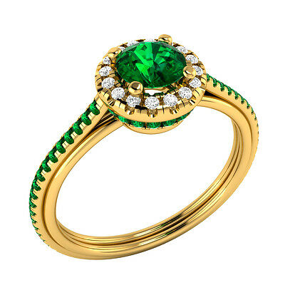 14k Yellow Gold 0.80 ct Certified Natural Diamond & Real Emerald Engagement Ring
