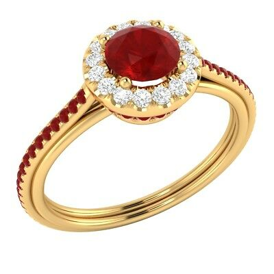 14k Yellow Gold 0.80 ct Certified Natural Diamond & Real Ruby Engagement Ring